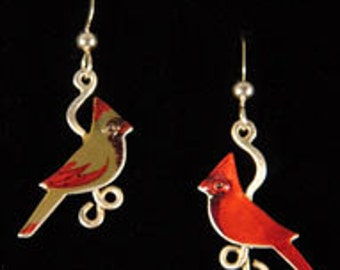 Cardinal Earrings, matched pair,