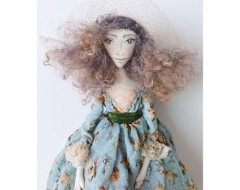 PENELOPE Collectible Handmade Fabric Art Doll OOAK Textile Soft Sculpture