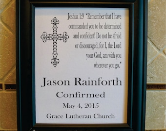 Confirmation Gift for Boy - Confirmation - Confirmation Print - Confirmation Sign - Bible Verse - Godson Gift - Gift from Godparent (co105a)