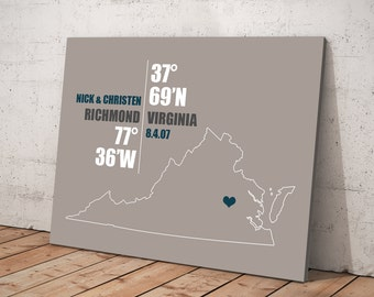 Virginia Coordinate Wedding or Anniversary Gift, Any State or Country Map Print, Bride and Groom Names, Place and Date, Bridal Shower Gift
