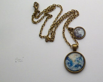 Earth and Moon necklace Earth necklace Moon necklace Solar System jewelry Planet necklace Space necklace Galaxy jewelry Earth & Moon jewelry
