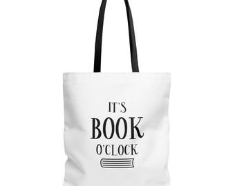 Book Tote Bag - Book Tote - Reader Gift - It's Book O'clock - Canvas Bag - Canvas Tote - Book Lover Gift - Book Bag - Librarian Gift - Book
