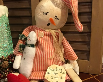 Primitive Sleeping Snowman with Dollie and Stocking, Handmade Snowman Doll