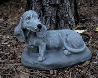 Dachshund Statue, Toy Dog Concrete Figure, Cement Garden Decor, Doxie Statues, Pet Memorial, Dachshund Dog Figure, Dachshund Memorial,