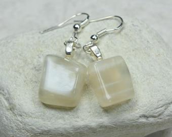 Custom Tumbled Moonstone Dangling Earrings - 1 Set