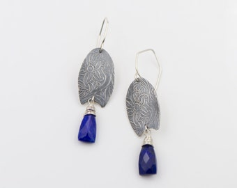 Lapis - Sterling Silver - Textured - Floral - Pod Earrings