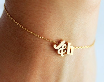 Initials Bracelet - Lowercase Herat or Ampersand, Silver Gold Rose Initial Bridal Gift Personalized Bridesmaid Gift Letter Bracelet Wedding