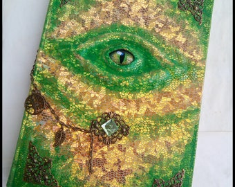 Handmade notebook, sketchbook, journal - Forest Dragon Eye
