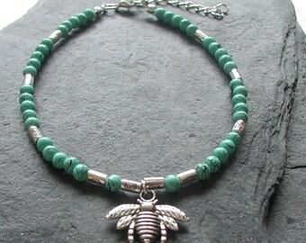 Turquoise Beads Honeybee Charm Anklet Ankle Bracelet