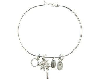 Silver Palm Tree Bracelet with Swarovski Crystal