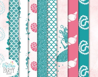 Mermaid Digital Scrapbooking Paper Pack, Buy 2 Get 1 FREE. Instant Download