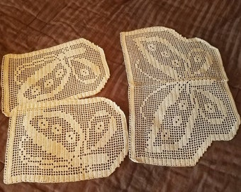 Set of cream colored lace butterfly doilies. Handmade matching set of three.