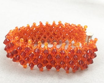 Beaded Bracelet - Orange netted bracelet with red crystals, seed beads, beaded jewellery