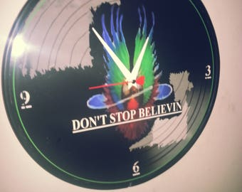 Journey - Dont Stop Believin - 12 inch Wall Clock- recycled vinyl record - Ready To Hang New Original - Steve Perry