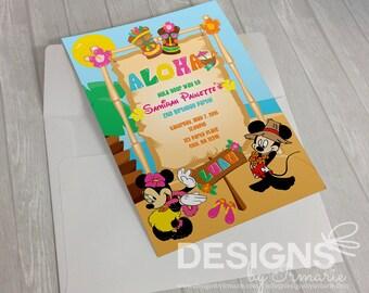 Digital Minnie Luau Invitation
