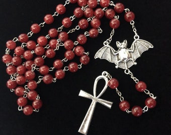 Bat/Ankh red rosary