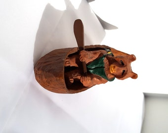 Gone Fishing Canoeing Bear Candle Holder Fathers Day or Sportsman Gift presented by Donellensvintage