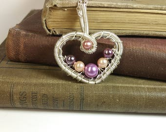 Valentines Day Sterling Silver Wire Wrapped Pendant With Pearls