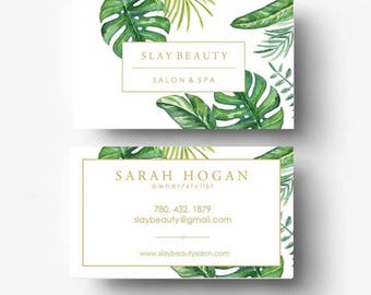 Pre-made Business Card Design - Business Card Template - Branding Template - Banana Leaf Print - Tropical Print Card - Boutique Logo