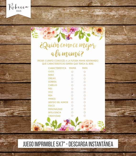 Baby Shower Games In Spanish Who Knows Mommy Best Game Spanish