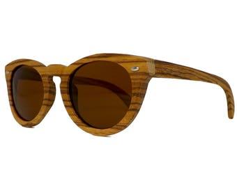 Okulars® Vintage - Lunettes de Soleil en Bois pour Homme & Femme, Fait à la Main - Taille unique - Lentilles Polarisées Miroir - UV400-Cat.3