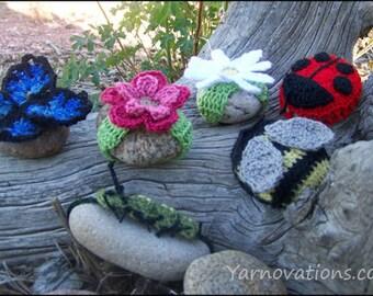 Garden Friends Crocheted Rocks - CROCHET PATTERN - Flowers, Rose, Daisy, Mum, Ladybug, Bee, Butterfly, Catterpillar
