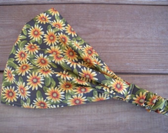 Womens Headband Fabric Headband Fashion Accessories Women Headscarf Headwrap in Olive Green with Yellow Daisies print