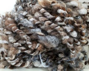 Extra bulky Handspun textured yarn knit crochet dolls hair  photo prop weaving. Natural neutral colours Shetland, Gottland mohair luxury