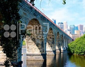 Minneapolis, Stone Arch Bridge, Cityscape, Mississippi River, Minnesota Wall Art
