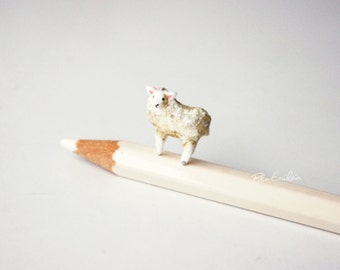 Miniature white sheep, polymer clay sculpture, Made to order