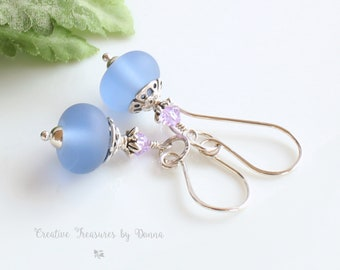 Sterling Silver Earrings, Blue Etched Lampwork Beads, Swarovski Crystals, Blue Earrings, Mother's Day Gift, Gift For Her, Bridesmaid Gift