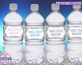 SALE Frozen glitter Instant Download water bottle wrappers easily print from home, party printables, girls birthday, frozen bottle wrappers