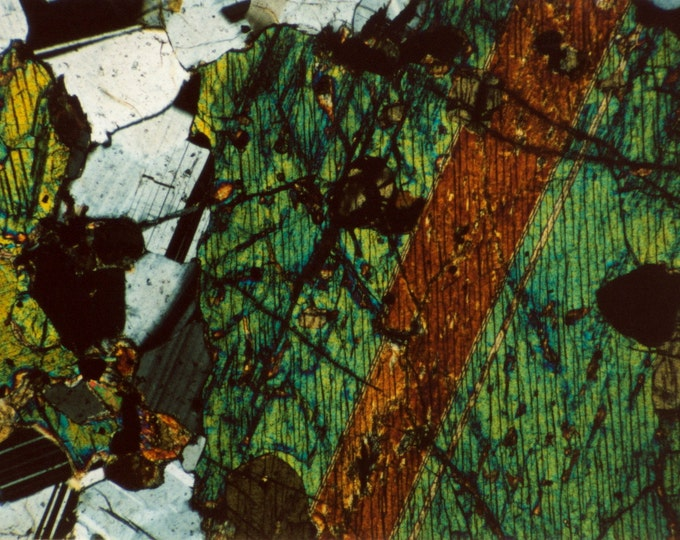 Mineral Photography Custom Feature Tiles - Pyroxene and Feldspar - Thin Section Photos - Australian Minerals - Art and Science