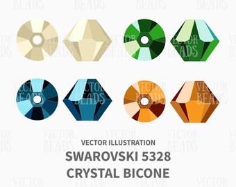 Vector Illustration of Swarovski Bicone 5328 - Digital Clipart Set