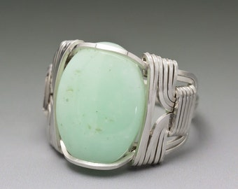 Chrysoprase Gemstone Cabochon Sterling Silver Wire Wrapped Ring - Made to Order and Ships Fast!