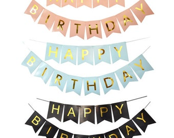 Birthday bunting with gold lettering | black or pink or blue | party decoration