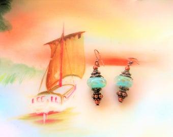 Aqua blue Lampwork earrings, petite earrings, boho earrings, lampwork earrings,  beach earrings, gift for her, spring jewelry