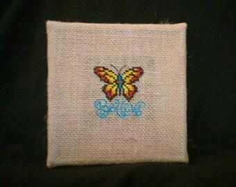 Butterfly burlap canvas