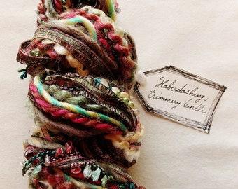 Sentimental victorian palette multi color checked linen ribbon Novelty Fiber Yarn Sampler Bundle