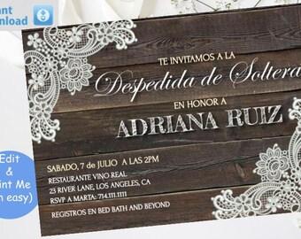 Invitación imprimible Encaje Rústico Despedida de Soltera Template, Printable Rustic Lace Bridal Shower Invite invitation, instante, digital