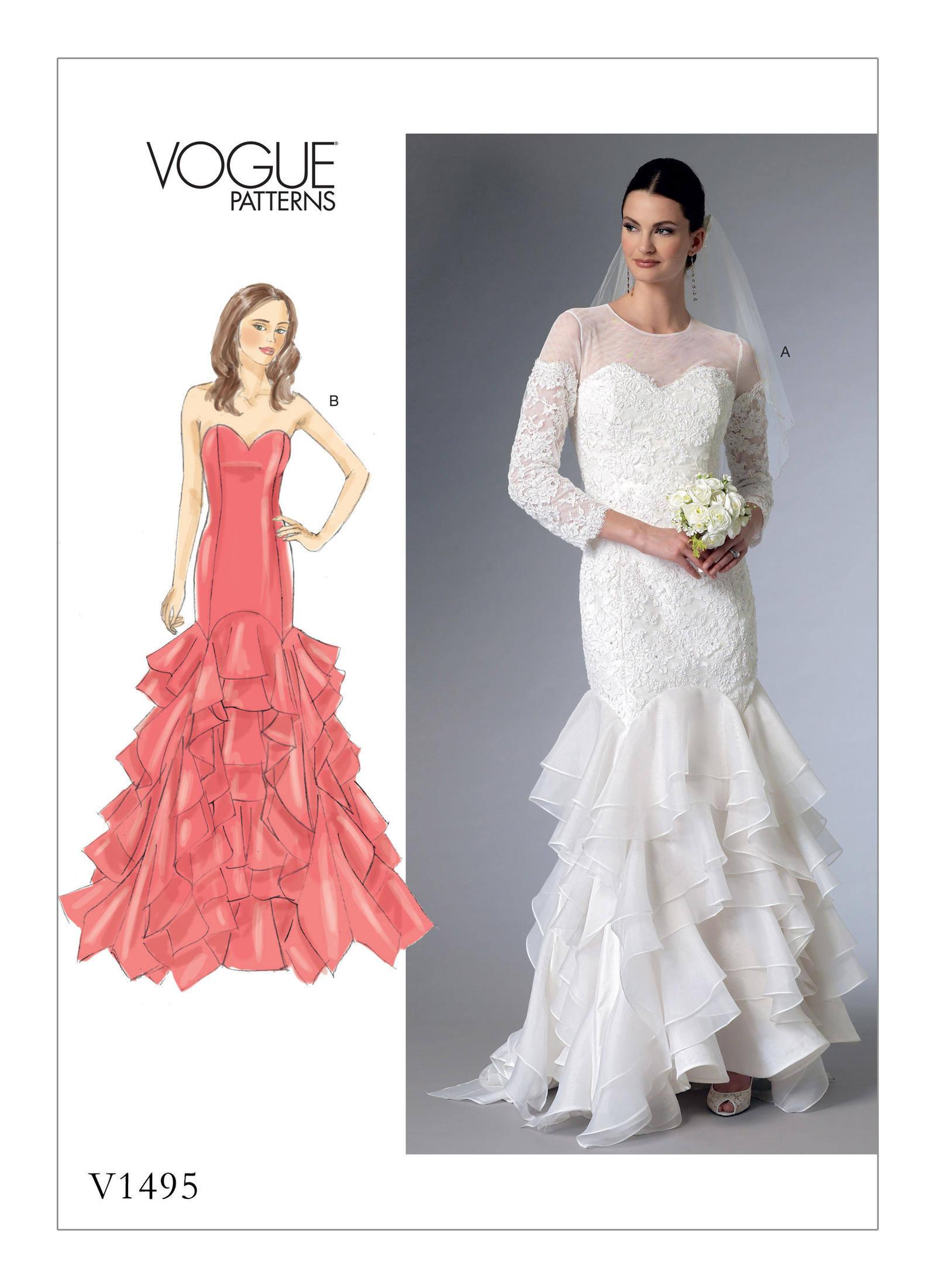 Pick Your Size Vogue Wedding Dress Pattern V1495