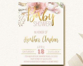 Floral Baby Shower Invitation Boho Chic Gold and Blush
