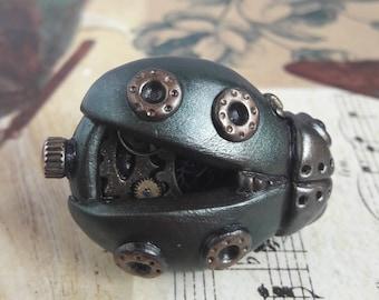 OOAK steampunk ladybird beetle rings, beetle jewellery
