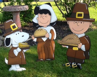 Hand Painted Set of 3  Charlie Brown Lucy and Snoopy Thanksgiving Yard Art
