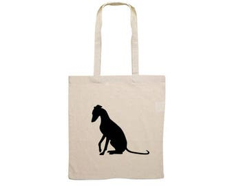 Canvas bag Whippet sitting silhouette