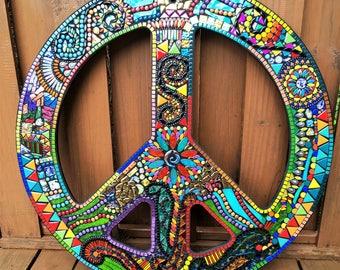 MOSAIC PEACE Sign - Hippie / Bohemian Art - Custom Order - Glass Gems, Beads, Ballchain, Mirrored Glass & Embellishments  - 3' x 3' -  OOAK!