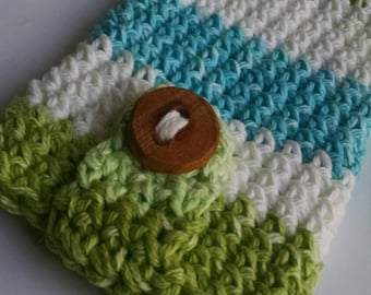 Crocheted Cell Phone Case - Smart Phone Sleeve - Phone Cozy - iPhone Cover - Crochet Phone Cozy - Crochet Phone Sleeve - Green Blue White