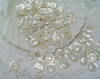 144 Mother of Pearl Buttons, Vintage Buttons, Christmas Crafting, Craft Buttons, White Buttons