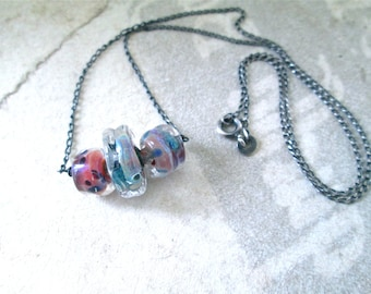 KATUMBIRI Lampwork Glass & Sterling Pendant Necklace