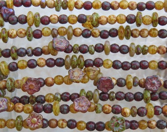 7mm to 4mm On The Vine Mixed Shapes and Sizes Picasso Czech Glass Beads 16 Inch Strand (AW318)